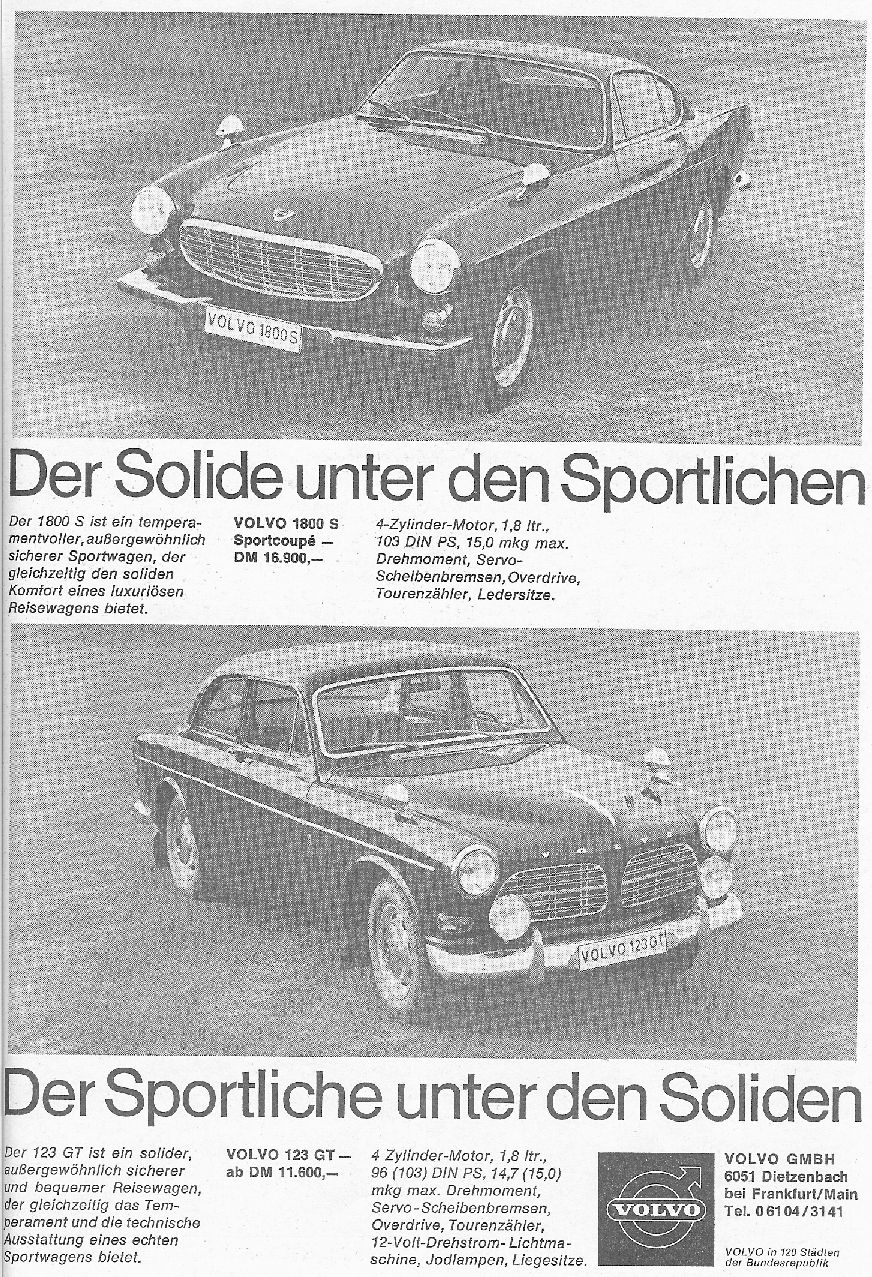 Volvo 123gt 122s Wiring Diagram A Swiss Advert Of The Time Refers To Two Spot Lights And Only One Mirror See Picture At Bottom While